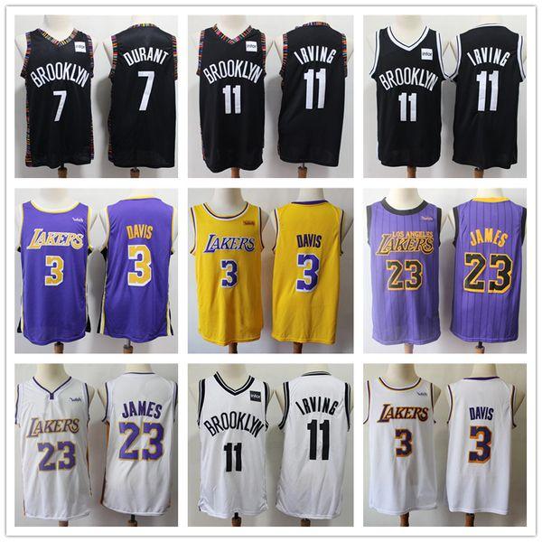 NCAA LA Hombre Anthony 3 Davis LeBron 23 James Jersey Kevin 7 Durant 11 Irving Brooklyn Kyrie Nets Camisetas de baloncesto Logos cosidos