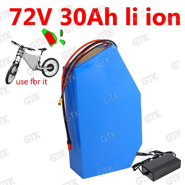 GTK 72v 30Ah lithium ion triangle battery 18650 BMS 20S li ion for 5000w 3000W Mountain Bike scooter Motorcycle + 5A charger