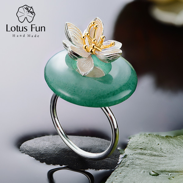 Lotus Fun 925 Sterling Silver Ring for Women Lotus Flower Circle Green Aventurine Adjustable Handmade Ethnic Jewelry