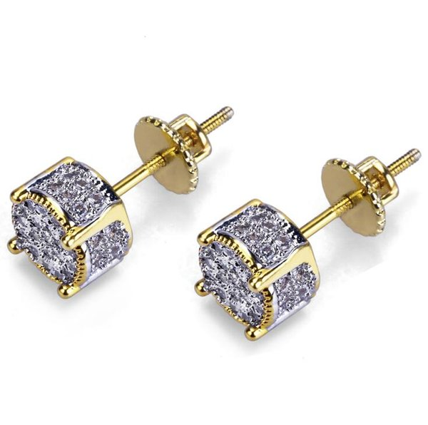 selling european and american hip-hop ear nails with zircon round double-color earrings 925 tremella nails ing