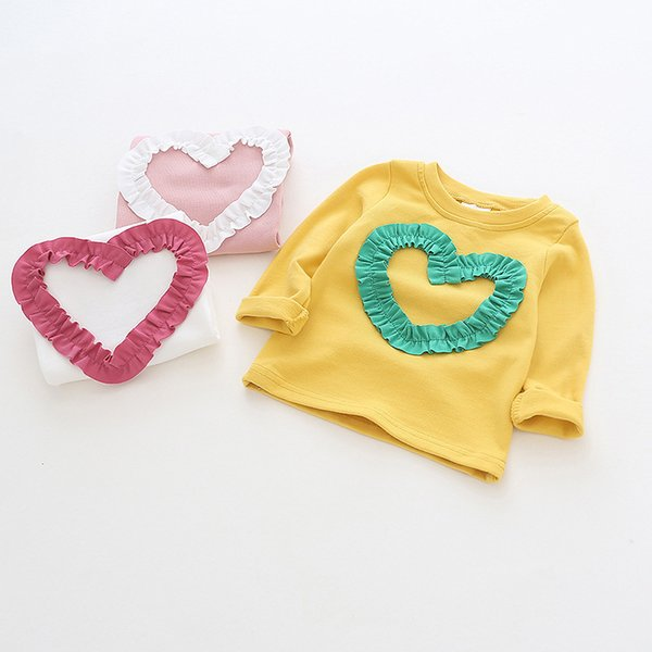 Children Clothing Girls Round Neck Blouse Spring Autumn Love Heart Lace Shirt Cotton Long Sleeve Sweatshirts School Kids Clothes