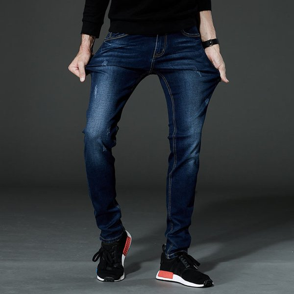 Plus Size 28-46 2019 New Men Fashion Blue Jeans Casual Slim Stretch Jeans Classic Denim Pants Skinny Trousers High Quality