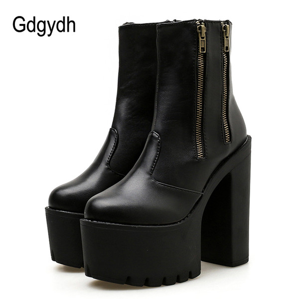 Gdgydh 2019 Women Ankle Leather Boots Ultra High Platform Heels Black High Heels Female Shoes Rubber Sole Zipper Casual Shoes