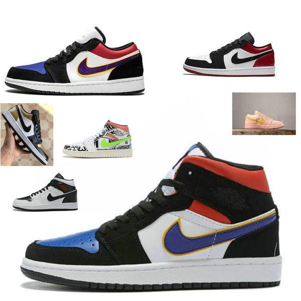 2019 yeni Ben 1 retro Düşük Siyah Mor Altın Kraliyet Beyaz Crimson erkekler / kadınlar / çocuklar basketbol ayakkabı 1 s Düşük Rakipler gençler büyük boy spor sneakers