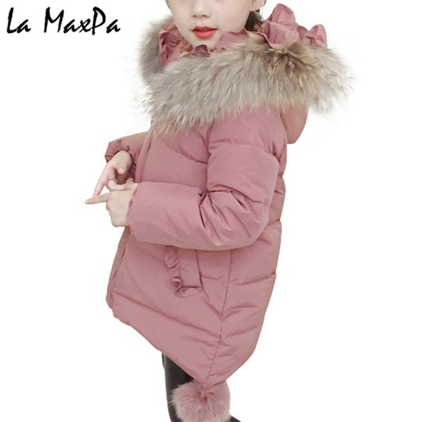Brand New Children Cold Winter down Girls Thickening Warm Down Jackets Boys long Big Fur Hooded Outerwear Coats Kids Jacket