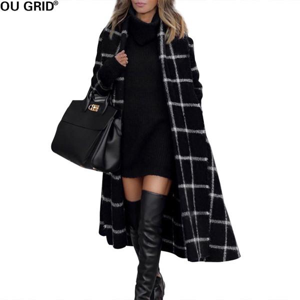 Automne Hiver Noir Plaid Long manteau femmes col à capuche chaud Veste mince mode élégante Cardigan avec ceinture Outwear