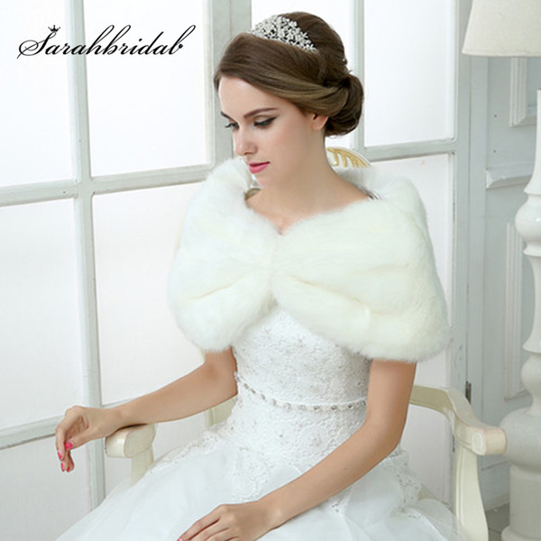 Cheap In Stock wedding bolero white faux fur winter women fur jacket bridal wraps and shawls for evening wedding dresses
