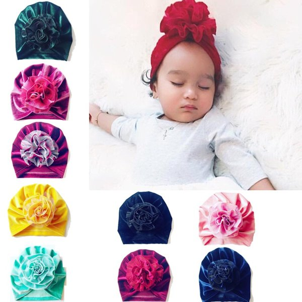 Baby Wintermützen Kinder Hut Gold Samt Handgenähter Hut Spitze Mesh Blume Elastische Plissee Hut Einfarbig 61