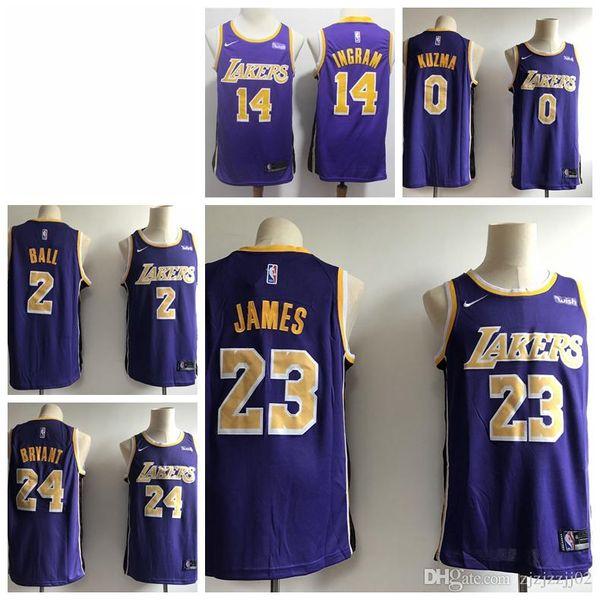 meet db552 e2e77 2019 2019 23 LeBron James Laker Jersey The City Los Angeles Kobe 24 Lonzo 2  Ball Kyle 0 Kuzma Brandon 14 Ingram Ball Jersey NEW Purple Gold From ...