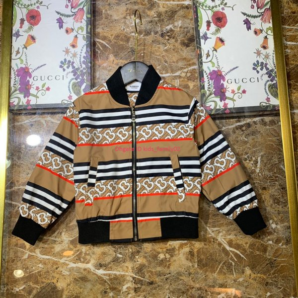 Boy jacket kids designer clothes lined with cotton letters stitching stripe pattern design jacket autumn new wearable fabric jacket news