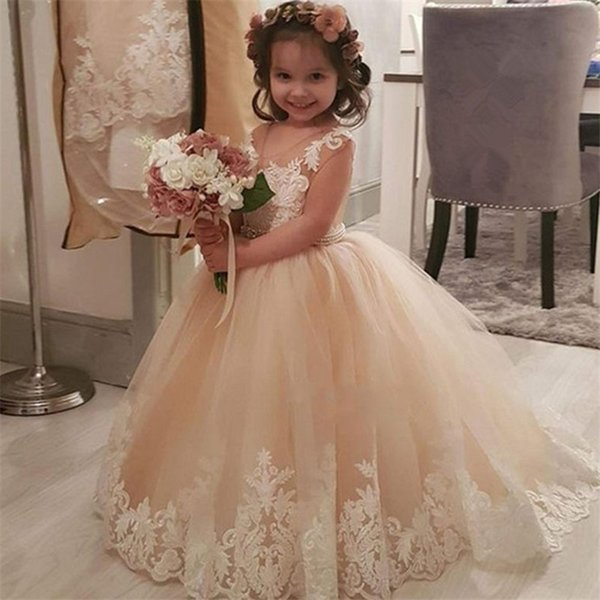 top popular Cute Lace Flower Girl Dresses Weddings Princess Tulle Appliqued Lace Beaded Sash Kids Floor Length Girls 'Pageant Gowns 2019