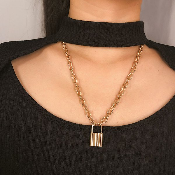 Punk Gothic Padlock Choker Necklace Collar Statement Gold Color Lock Pendant Long Chain Necklace for Women Jewelry