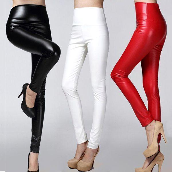 2018 Autumn winter Women legging skinny PU leather pencil Leggings slim faux Leather Pants female fashion thick fleece trousers T190613