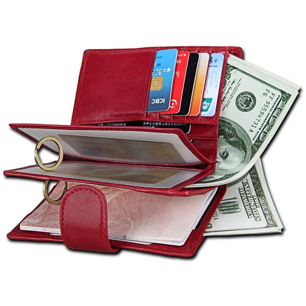 Grand portefeuille pour hommes et femmes avec détenteur d'un passeport en cuir véritable RFID porte-cartes de luxe ticket porte-monnaie porte-monnaie