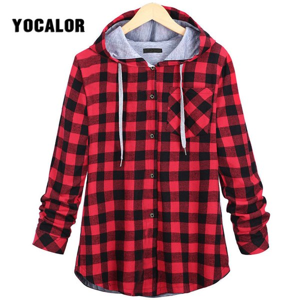 YOCALOR 5XL Plaid Spring Autumn Long Hooded Jacket Female Coat Women Windbreaker Large Sizes College Outerwear Red For Girls