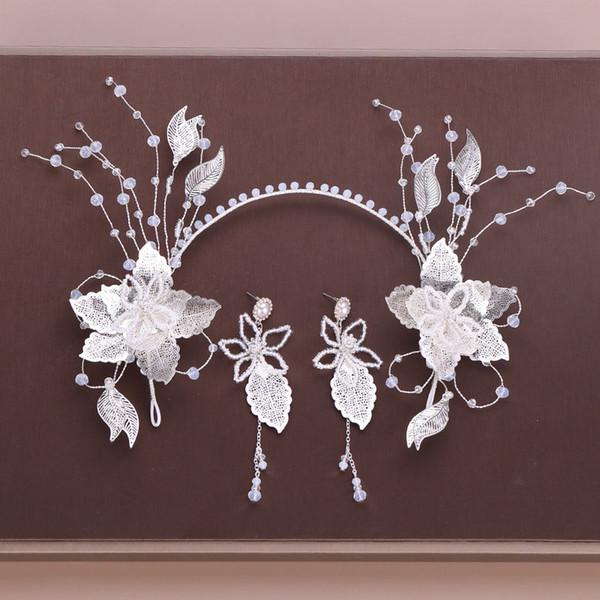 Gelin Düğün Gümüş Çiçek Yaprakları Şekil Saplama Küpe Saç Aksesuarları Set Kadınlar Kore Stil Tatlı Kafa Küpe Seti