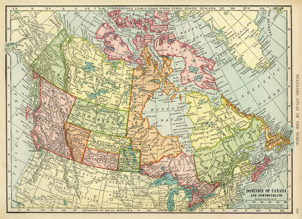 Historical Map of Canada Vintage Art Silk Print Poster 24x36inch(60x90cm) 019