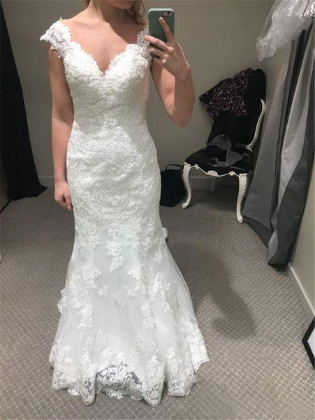 Mermaid Lace Wedding Dresses 2019 Sexy Deep V Neckline Short Sleeve Wedding Dress Sheer Bridal Gowns Plus Size Bride Formal Gown