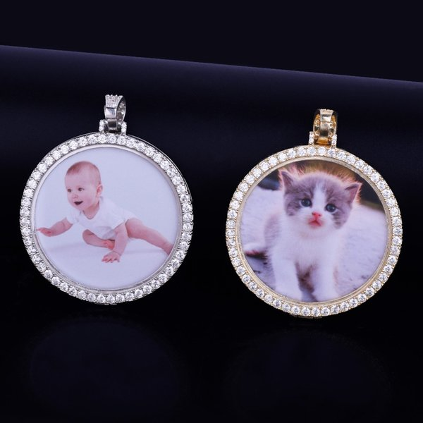 Cu tom made photo medallion pendant necklace pendant 4mm tenni chain cubic zircon men hip hop jewelry 5 5x5 5cm, Silver