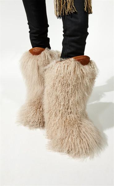 Acheter Piste De D'autruche Glissez Hiver Véritable Furry Flats Fourrure Bottes Plume Chaude Sur La Femmes Neige Genou Poilu eBodCQrxW