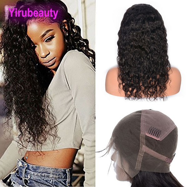 Malaysian Human Hair Water Wave Natural Color Wet And Wavy Full Lace Wig With Baby Hair Pre Plucked Adjustable Band Human Hair Wigs