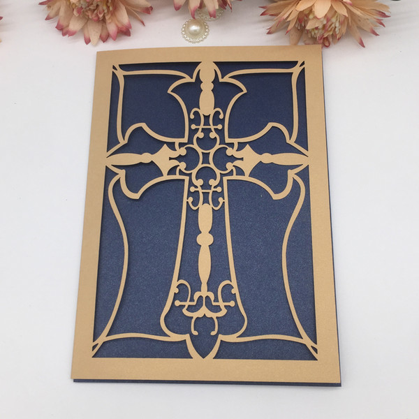 50PCS/LOT Hollow Cross Pattern Laser Cut Invitation Card Apply To Luxury Wedding Vintag Engagements Festival Party Events