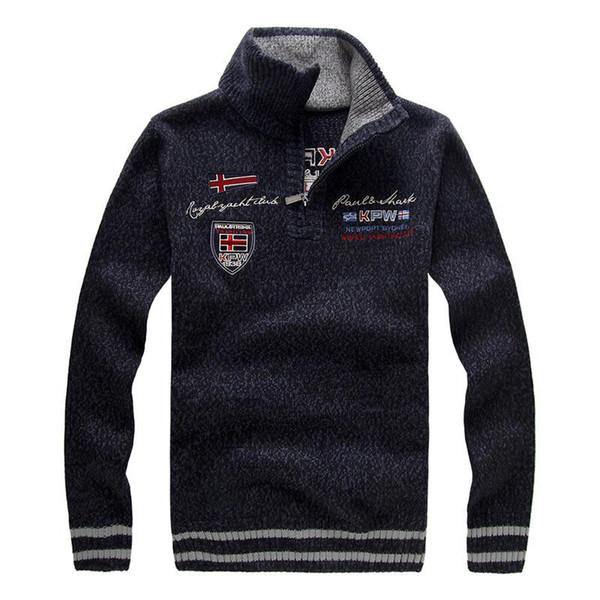 Nova camisola dos homens de Inverno Moda Bordado Engrossar Gola de Lã Camisola Casaco Para Homens Pullovers 3 Cores BFA15