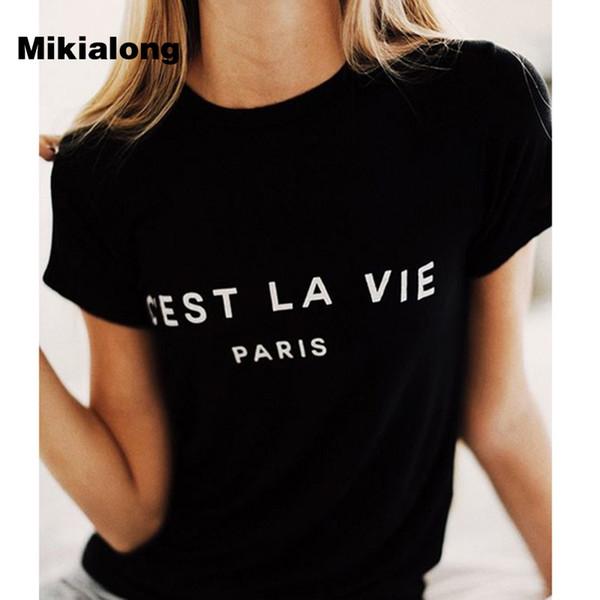 Magliette classiche da donna Cotton Women 2019 Summer T-Shirt maniche corte Poleras Mujer Top Tee Shirt Femme Paris Tshirt stampate