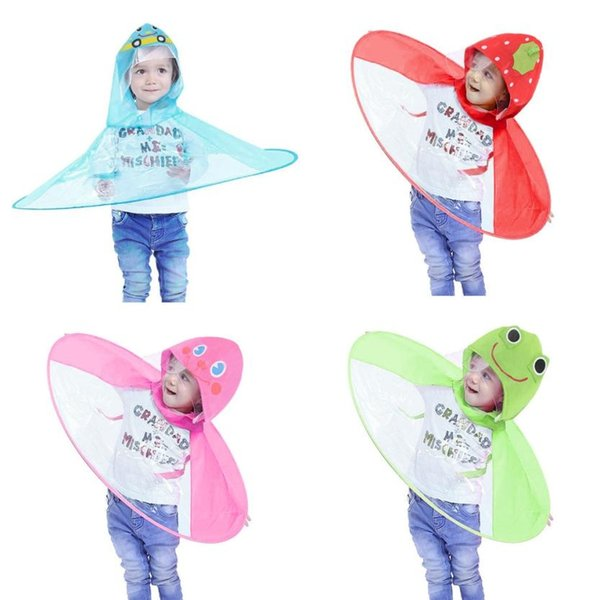 Cute Rain Coat UFO Children Umbrella Hat Magical Hands Free Raincoat 8.3   179535 9ecb72358a18