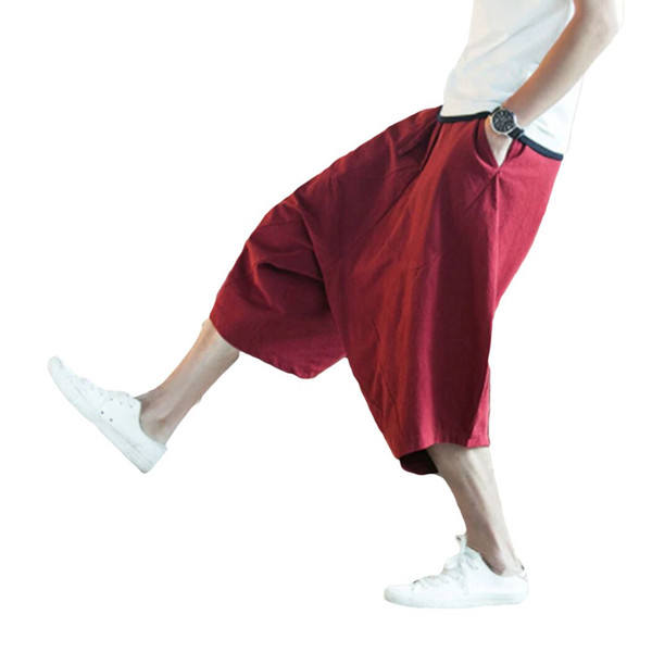 Fashion Chinese Style Flaxen Baggy Pants 2019 Summer Loose Large Cropped Trousers Men Wide Crotch Harem Pant Wide-Legged Bloomer