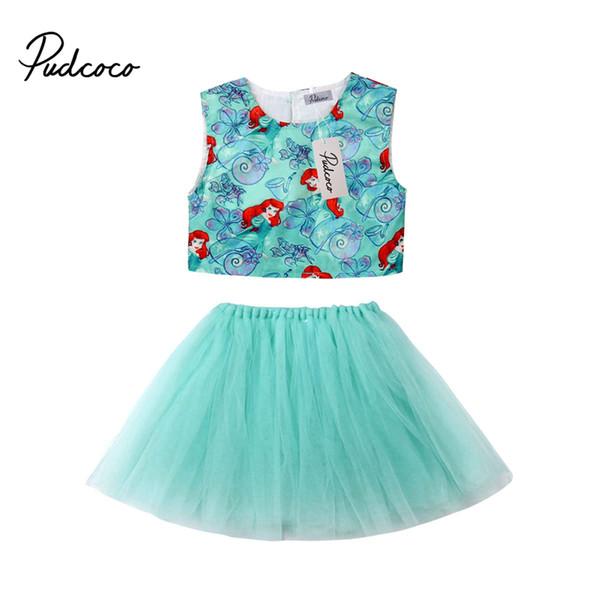 Yürüyor Çocuk Bebek Kız Denizkızı Kostüm Yaz Prenses Dantel Yelek Tops Tül Tutu Elbise Etekler 2 Adet Kıyafet Sunsuit Giysi