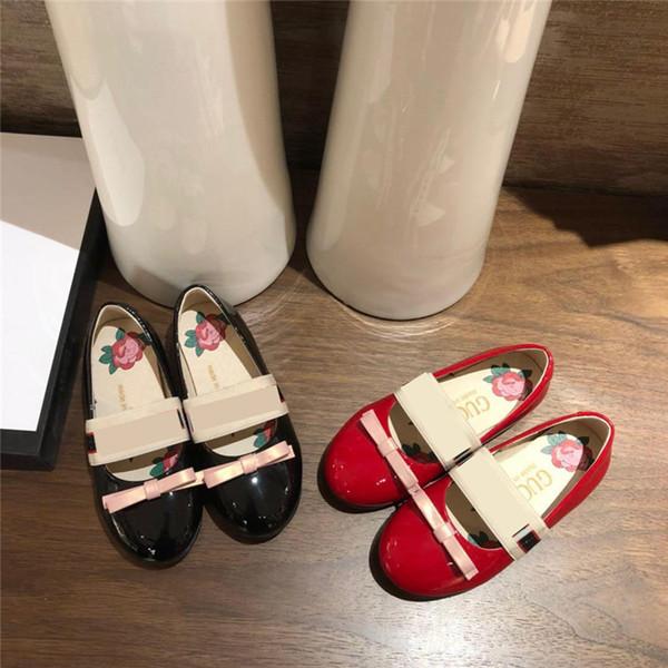 Designer de Mary Jane Sapatos Sapatos de Vestido Liso com Laços Cor De Rosa de Couro Genuíno Princesa Sapato Partido Meninas Sneakers Festa de Casamento Calçado