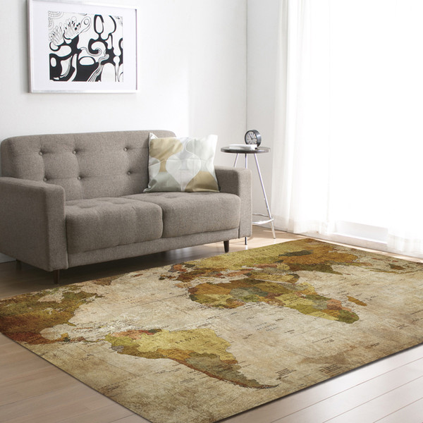 Polyester Map Pattern Carpet for Living Room Kitchen Mat Bedroom Carpet Floor Door Mat Decoration Carpet