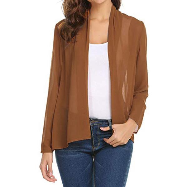 plus size women's jacket coat 2019 women's short Open Cardigan long sleeve jackets coats Chiffon Sheer Cover up #718