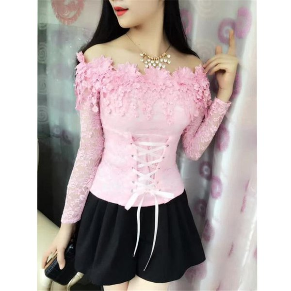 2018 Autumn Women Long Sleeve Shirt Sweet Tie Tassel Floral Lace Blouse Ladies Backless Slash Neck Blouses Blusas Short Tops 965 J190515
