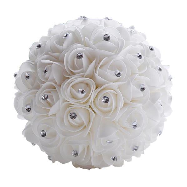 Beautiful Wedding Bouquet Bridal Bridesmaid Flower Artificial Flower Rose Bouquet White Bridal Bouquets Home Decoration