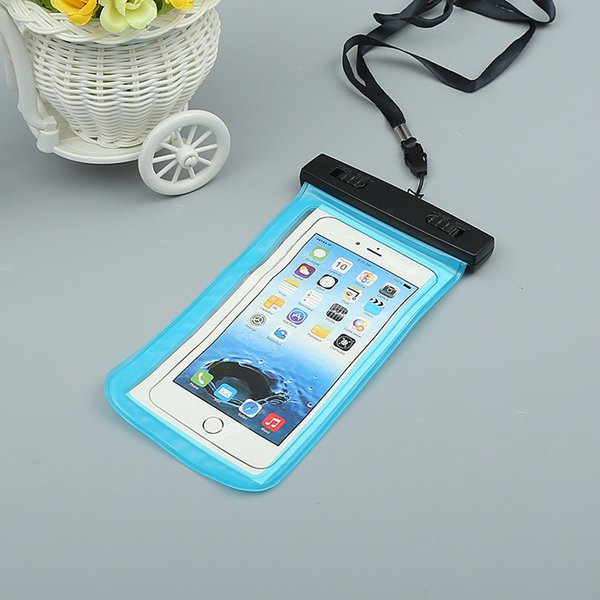 Al aire libre PVC Plástico Estuche de natación de plástico deportivo Protección universal para teléfono móvil a prueba de agua para iPhone X XS Teléfono inteligente Bolsa de cuello Bolsas