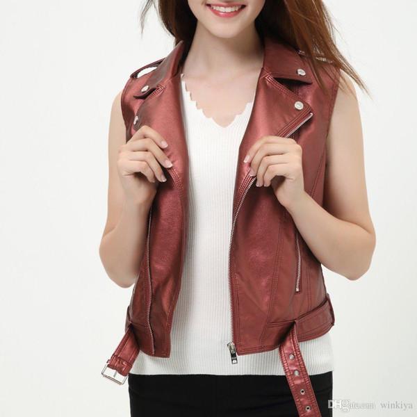Kadın kolsuz ceket bayanlar deri yelek yeni 2018 kırmızı yelek rahat moda kısa beyaz kadın yelek dropcolete feminino
