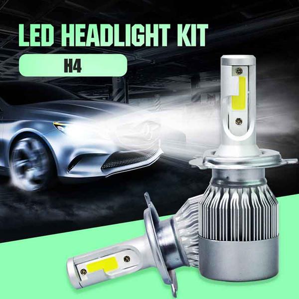 2 PCS H4 HB2 9003 LED Farol Do Carro Farol de Nevoeiro Luz Conversão Lâmpada 72 W Branco