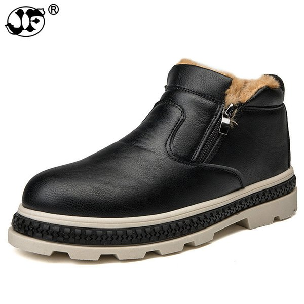 New Style Warm Snow Men'S Boots Slip on Fashion Casual Men Martin Boots Hard-Wearing Round Toe Winter Fur Men Shoes bnj89