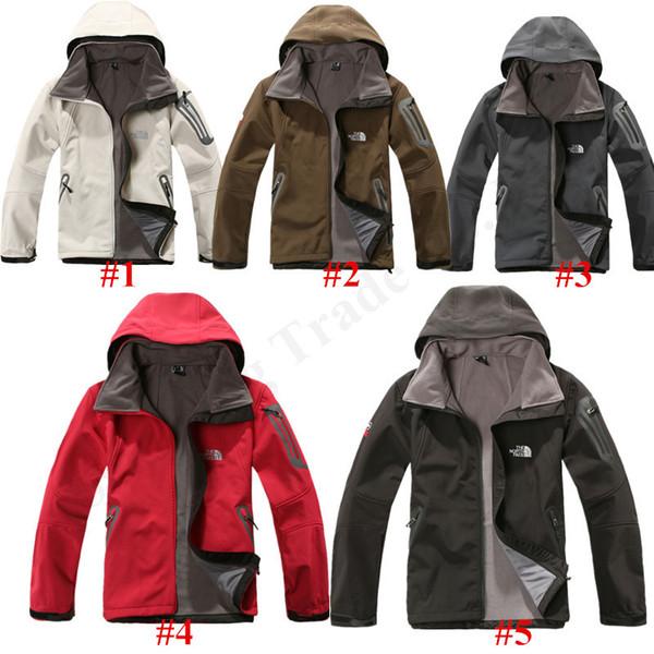 Северная Мужчины Зимняя куртка осень ветровка Soft Shell Теплый флис Face Открытый ветрозащитный водонепроницаемый куртки Большой размер пальто C102409
