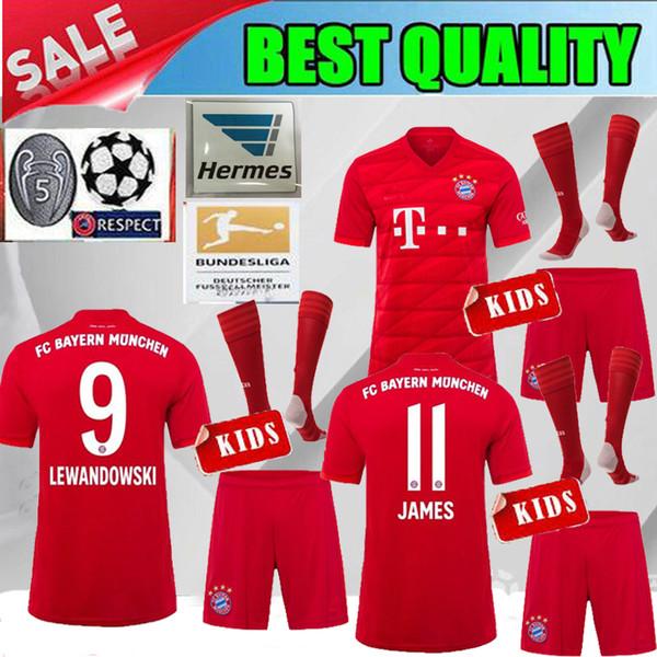 KINDER KITS 2019 Bayern München rot LEWANDOWSKI Kinderfußball Trikot 19 20 Bayern München JAMES ROBBEN MULLER 2020 Heimtrikot 5 Wort Cup uci