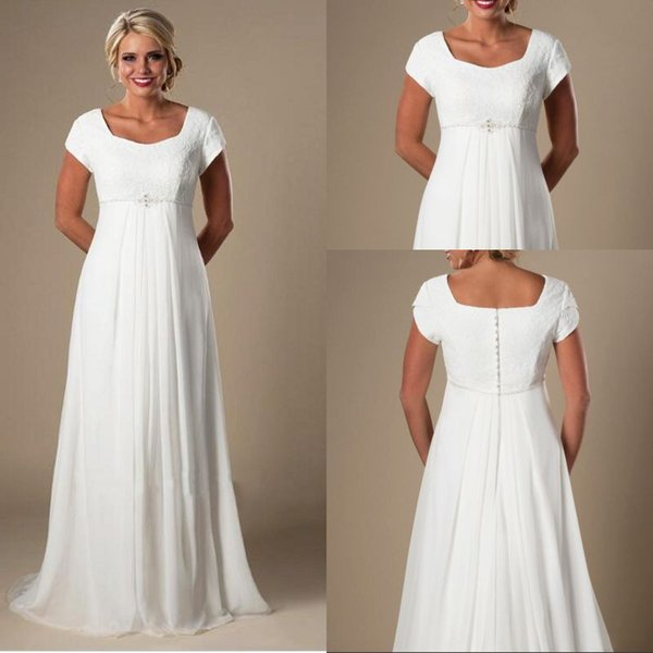 Discount Plus Size Wedding Dress Lace Informal Lvory Beach Pregnant Bridal  Dress 2018 Short Sleeves Beaded Chiffon Empire Fast Shipping Affordable ...