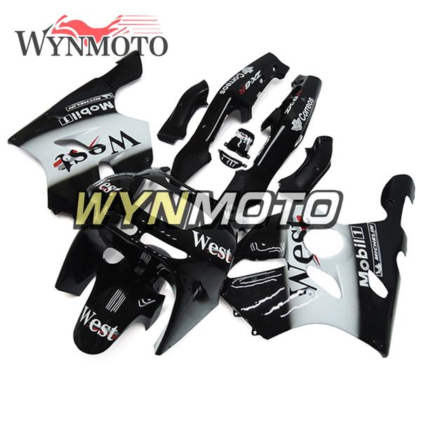 West Black White White Carenados completos para Kawasaki ZX-6R 1994 1995 1996 1997 Ninja ZX-6R Año 94-97 Motocicleta NINJA ZX6R Carenados Carrocería