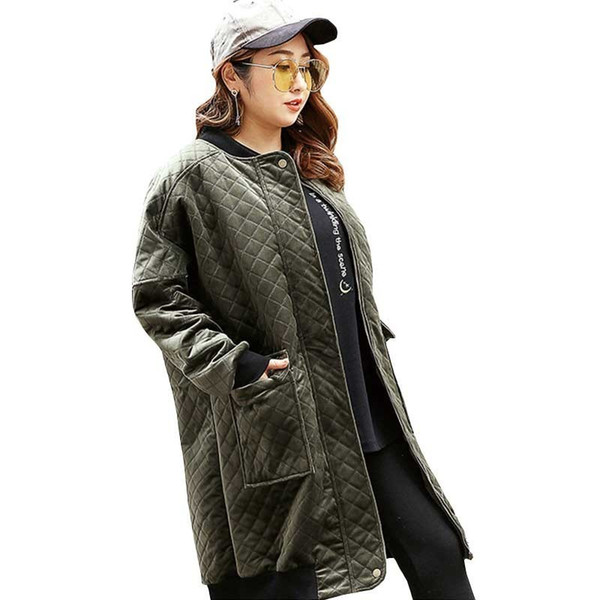 2018 Winter Jacket Coat Women Fashion Army Green Plus Fat Plus Size Cotton Parka Loose Long Thread Padded Overcoat Female Ls092