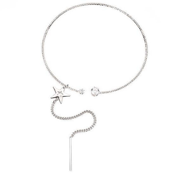 Hot Selling Rhinestone Choker Crystal Gem Luxury Star Chokers Fringed open neck collar Women jewelry Gift Accessories,2 color