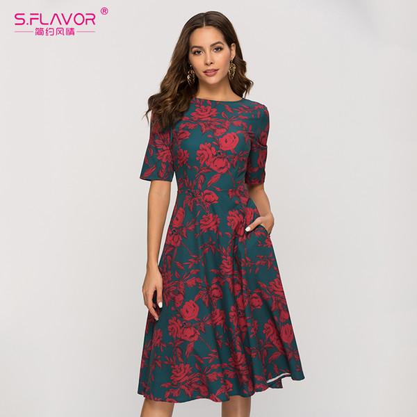 S.FLAVOR Retro Classic Printing A Line Dress For Women 2019 Vintage Elegant  Slim Party Vestidos Women Casual Spring Summer Dress Plus Size Evening ...
