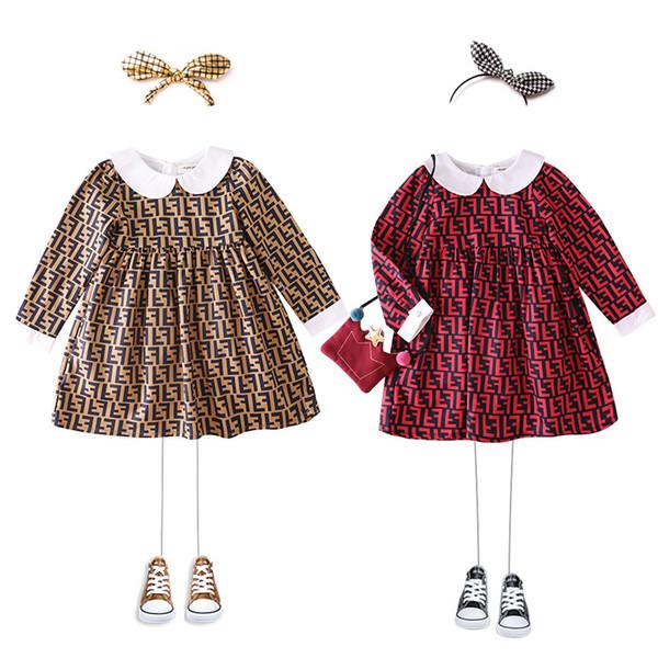 vestidos de niña de bebé al por menor de la solapa de la manga larga de la letra F vestidos de princesa impresión de volantes para la ropa de niños de diseño niñas boutique de ropa de vestir