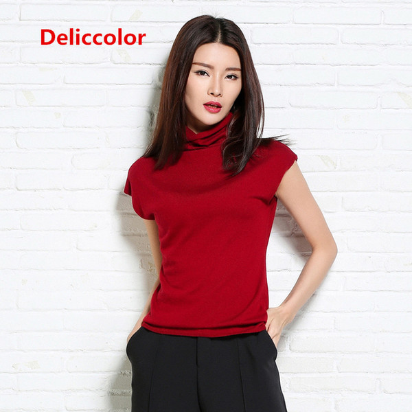 Cashmere Soft Elastic Sweaters and Pullovers Heap Collar Short Sleeve Summer Women Sweater Female Brand jumpers Pullover