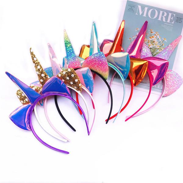 2019 new style Kids blingbling Unicorn make hand Hair Sticks with cat ears girl Unicorn Horn Hairband kids Hair Accessories for gift